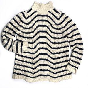 Zara Navy & Cream Stripe Mock Neck Sweater